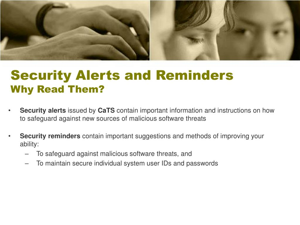 Security Alerts and Reminders