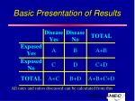 basic presentation of results