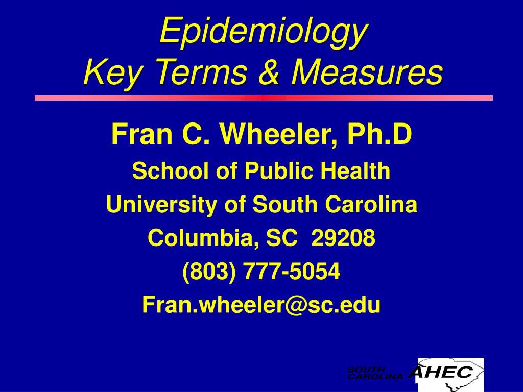 epidemiology key terms measures