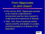 from hippocrates to john graunt