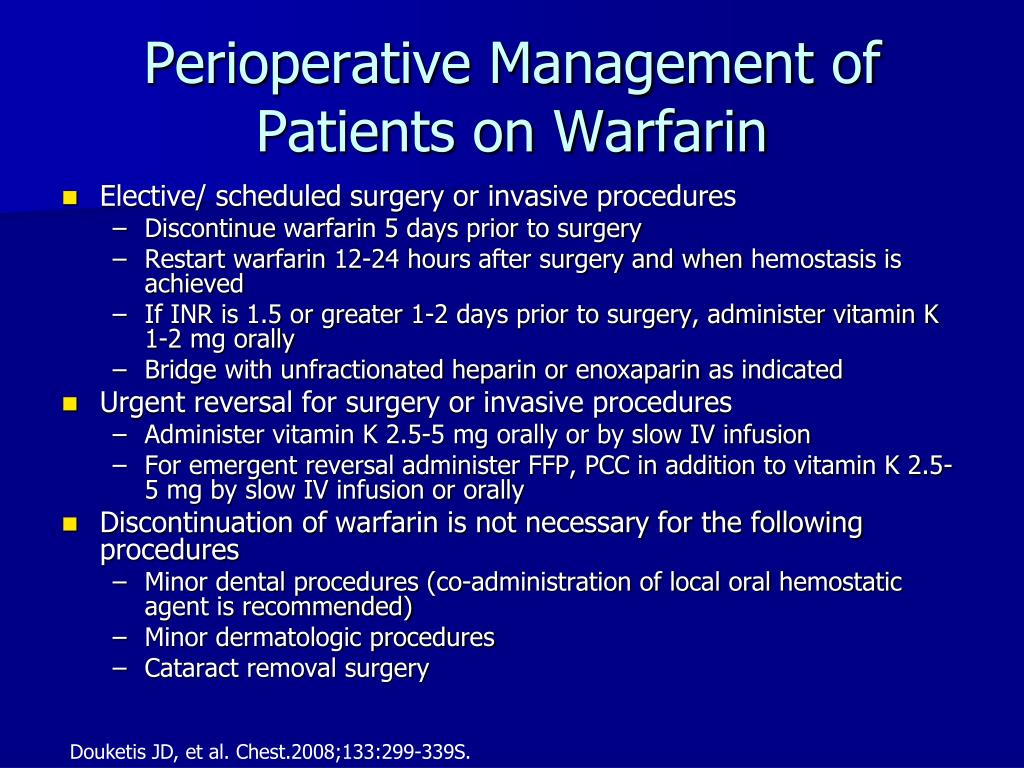 Perioperative Management of Patients on Warfarin