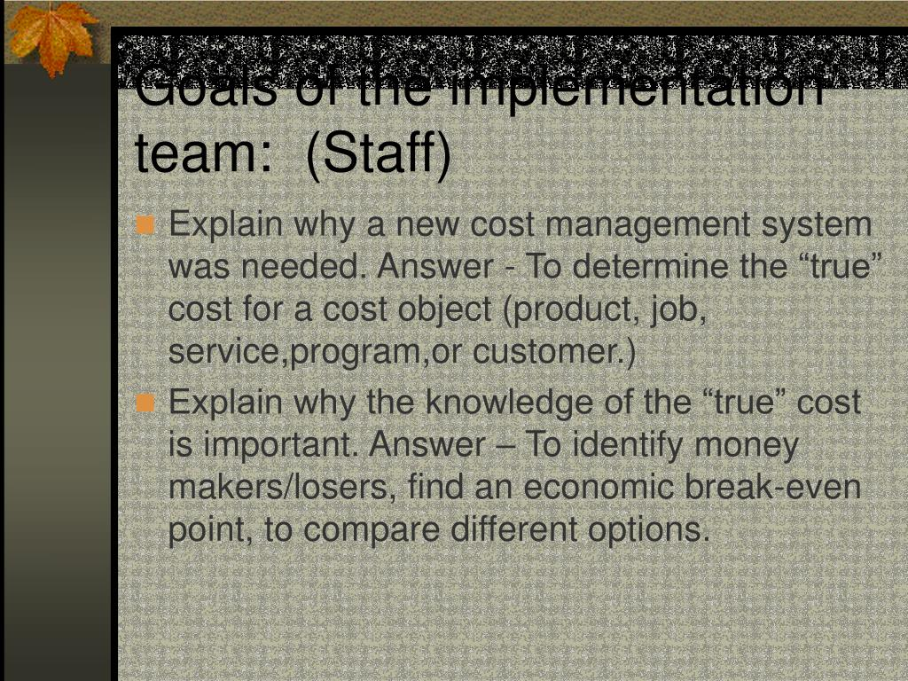 Goals of the implementation team:  (Staff)