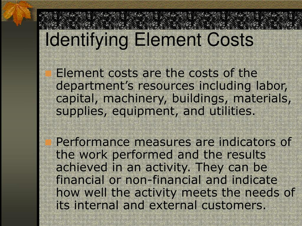 Identifying Element Costs