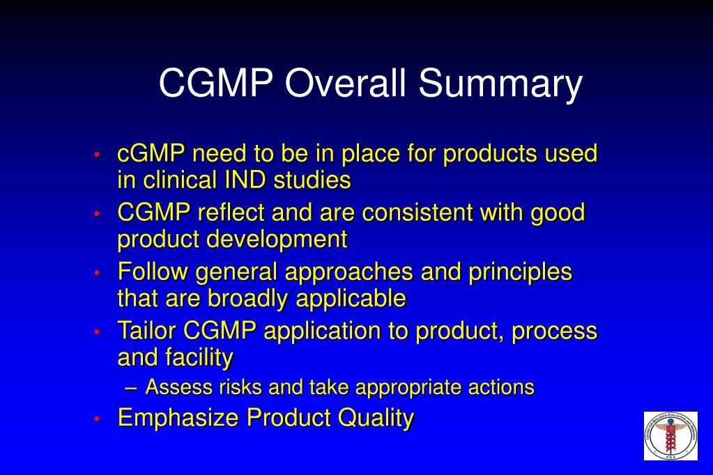 CGMP Overall Summary