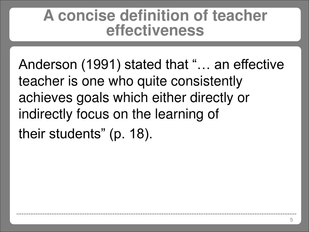 A concise definition of teacher effectiveness