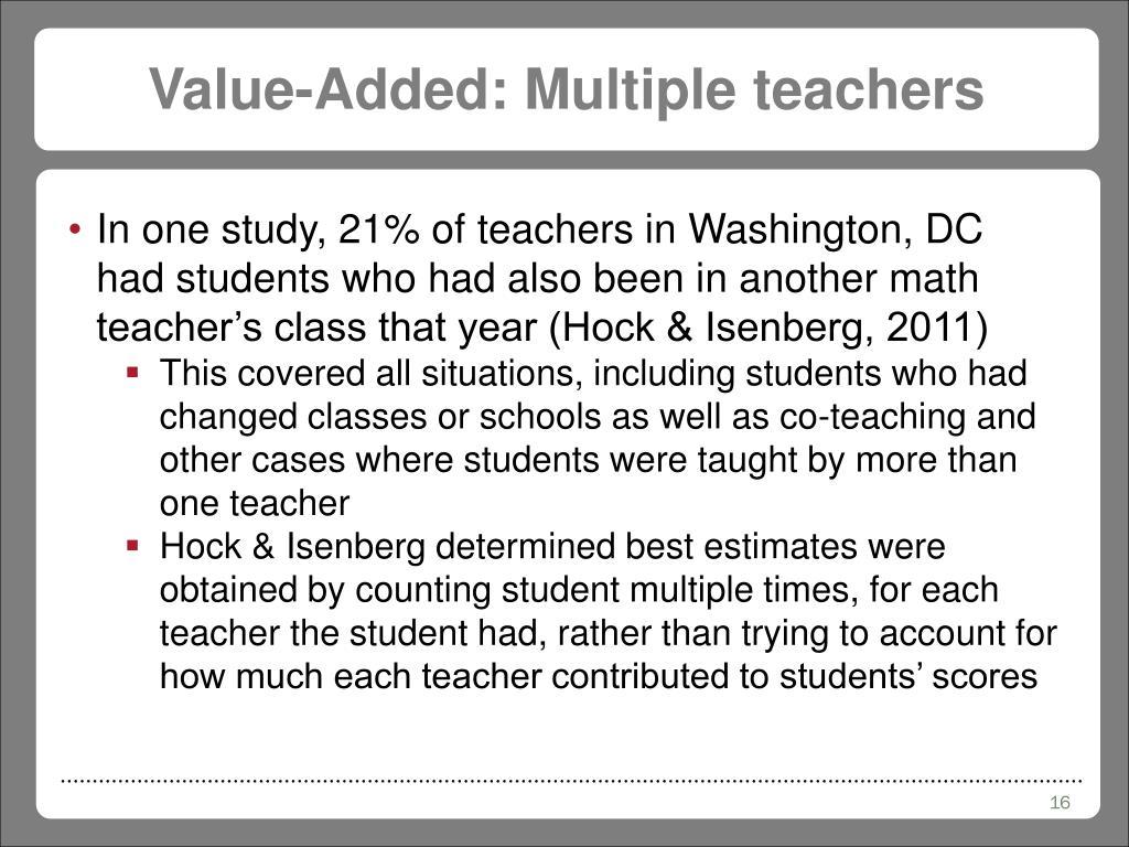 Value-Added: Multiple teachers