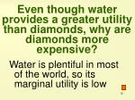even though water provides a greater utility than diamonds why are diamonds more expensive