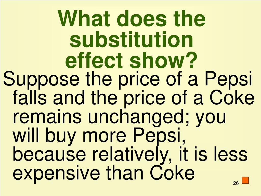 What does the substitution effect show?