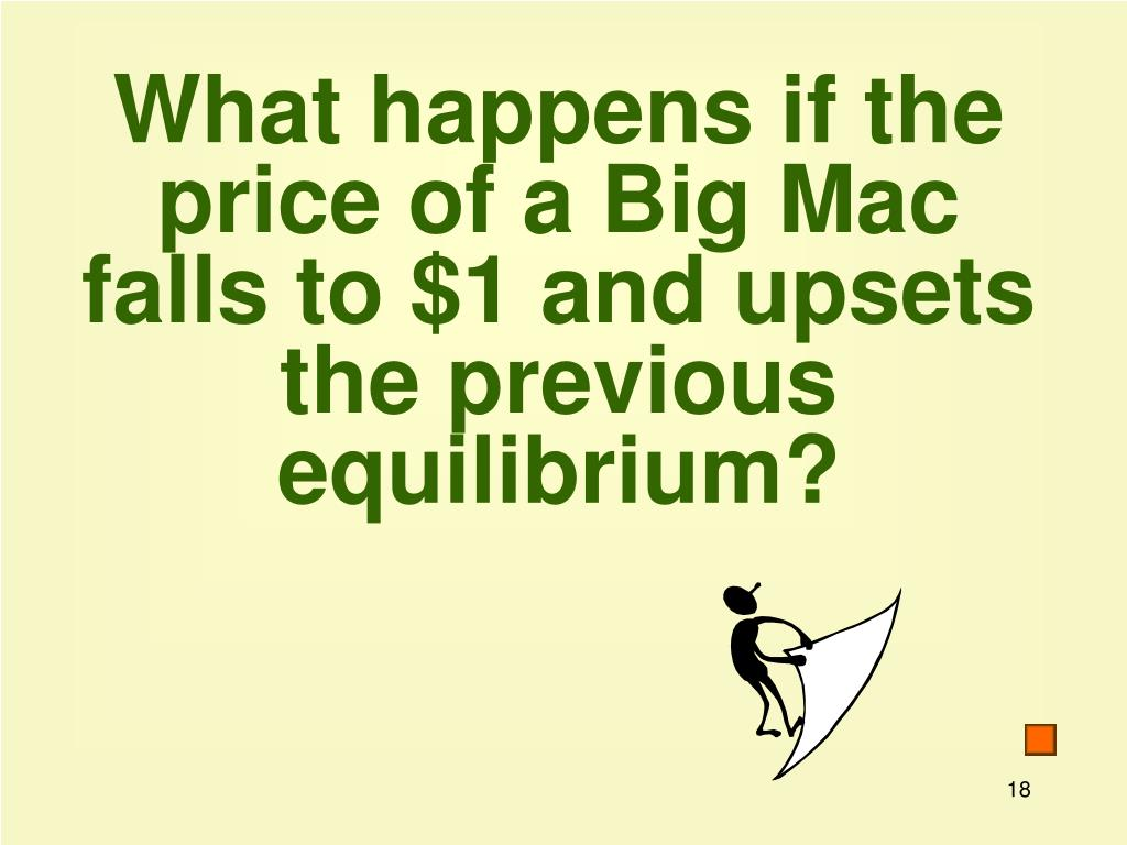 What happens if the price of a Big Mac falls to $1 and upsets the previous equilibrium?