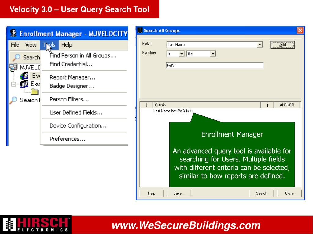 Velocity 3.0 – User Query Search Tool