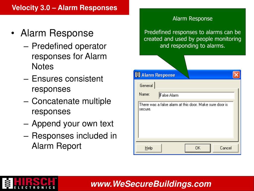 Velocity 3.0 – Alarm Responses