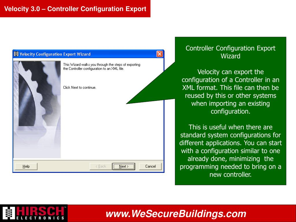 Velocity 3.0 – Controller Configuration Export