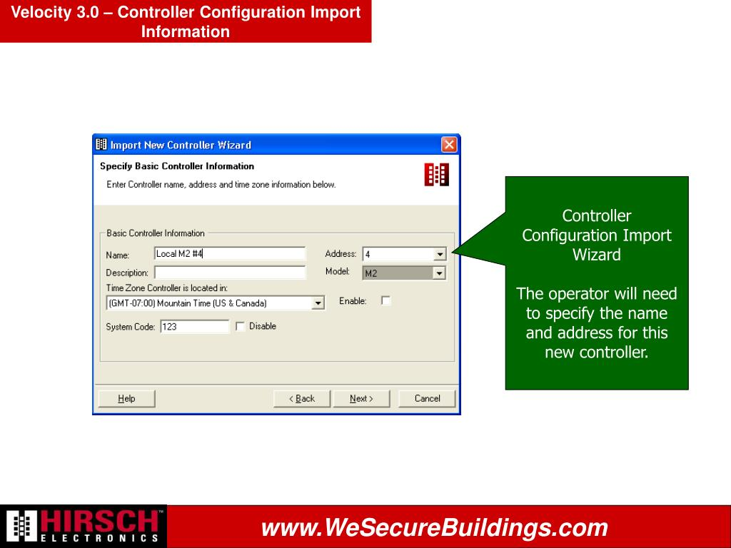 Velocity 3.0 – Controller Configuration Import Information