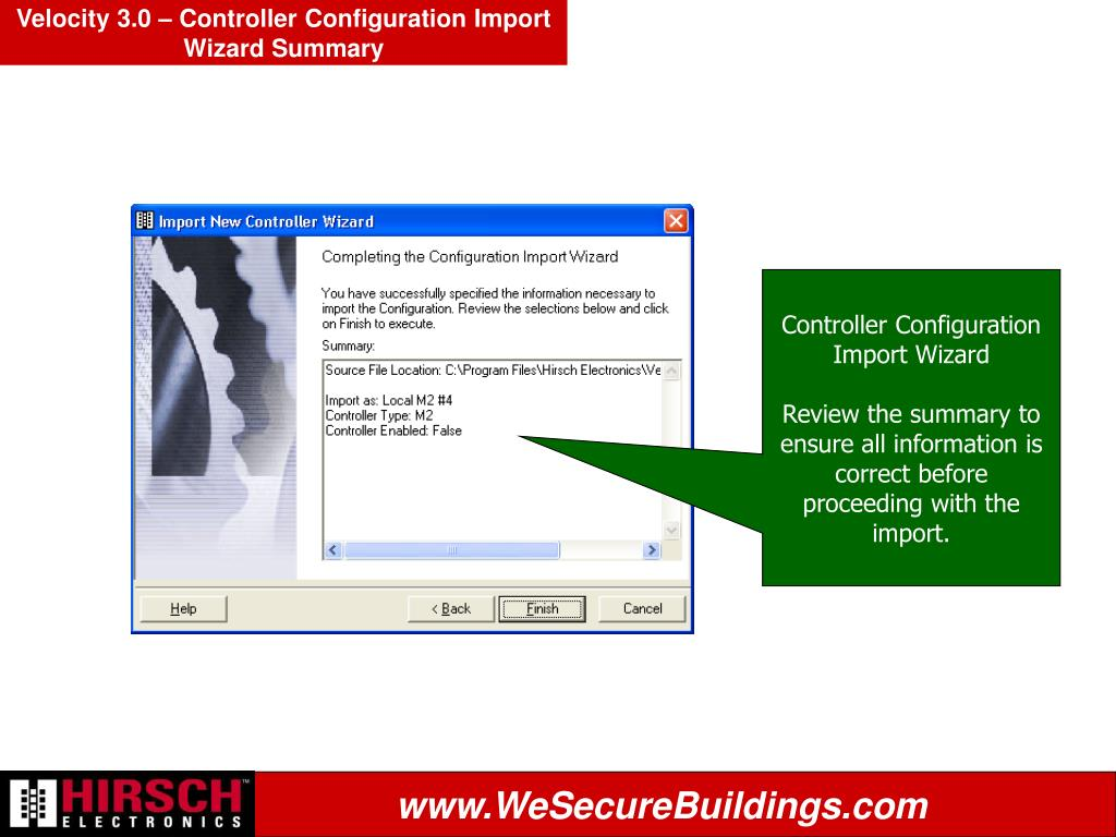 Velocity 3.0 – Controller Configuration Import Wizard Summary