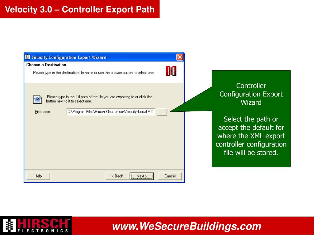 Velocity 3.0 – Controller Export Path