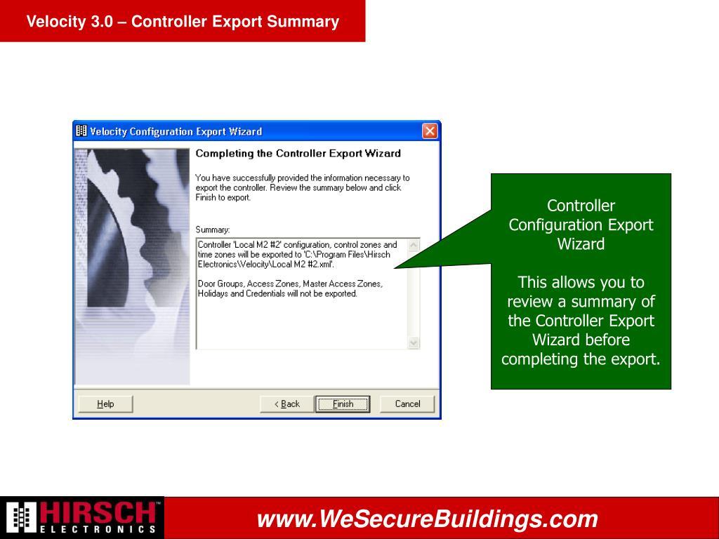 Velocity 3.0 – Controller Export Summary
