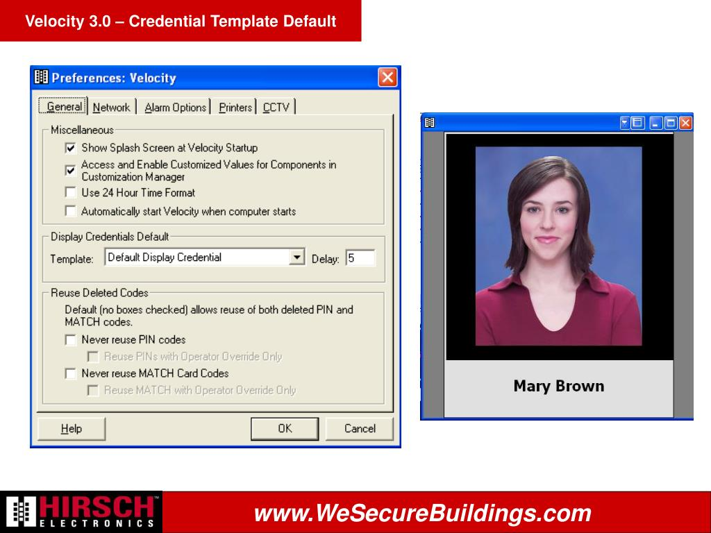 Velocity 3.0 – Credential Template Default