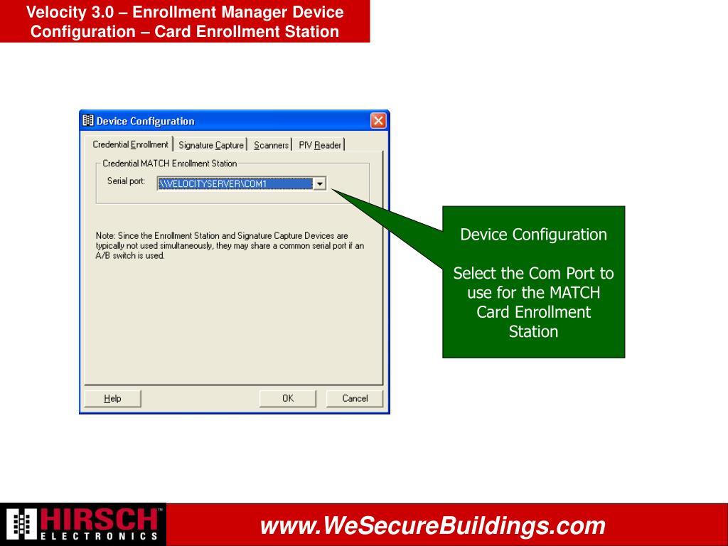 Velocity 3.0 – Enrollment Manager Device Configuration – Card Enrollment Station