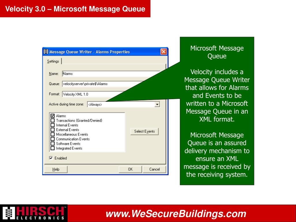 Velocity 3.0 – Microsoft Message Queue