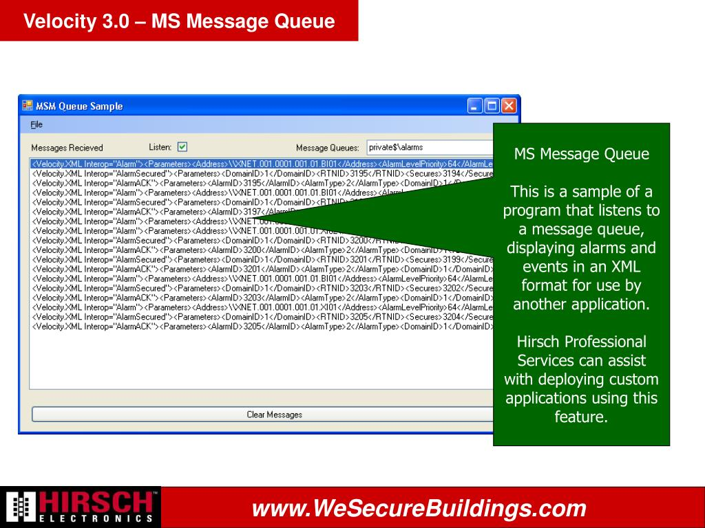 Velocity 3.0 – MS Message Queue