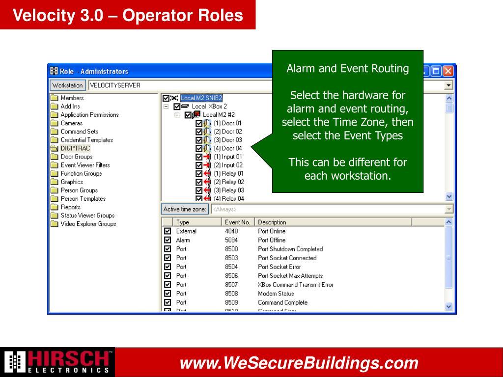 Velocity 3.0 – Operator Roles