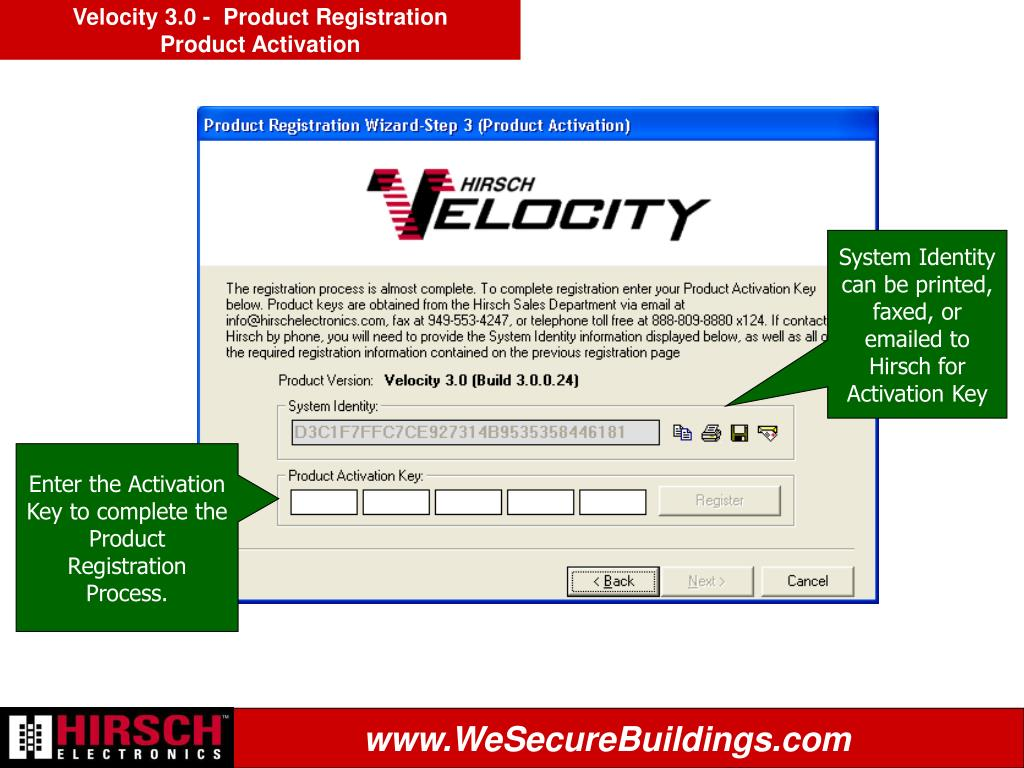 Velocity 3.0 -  Product Registration