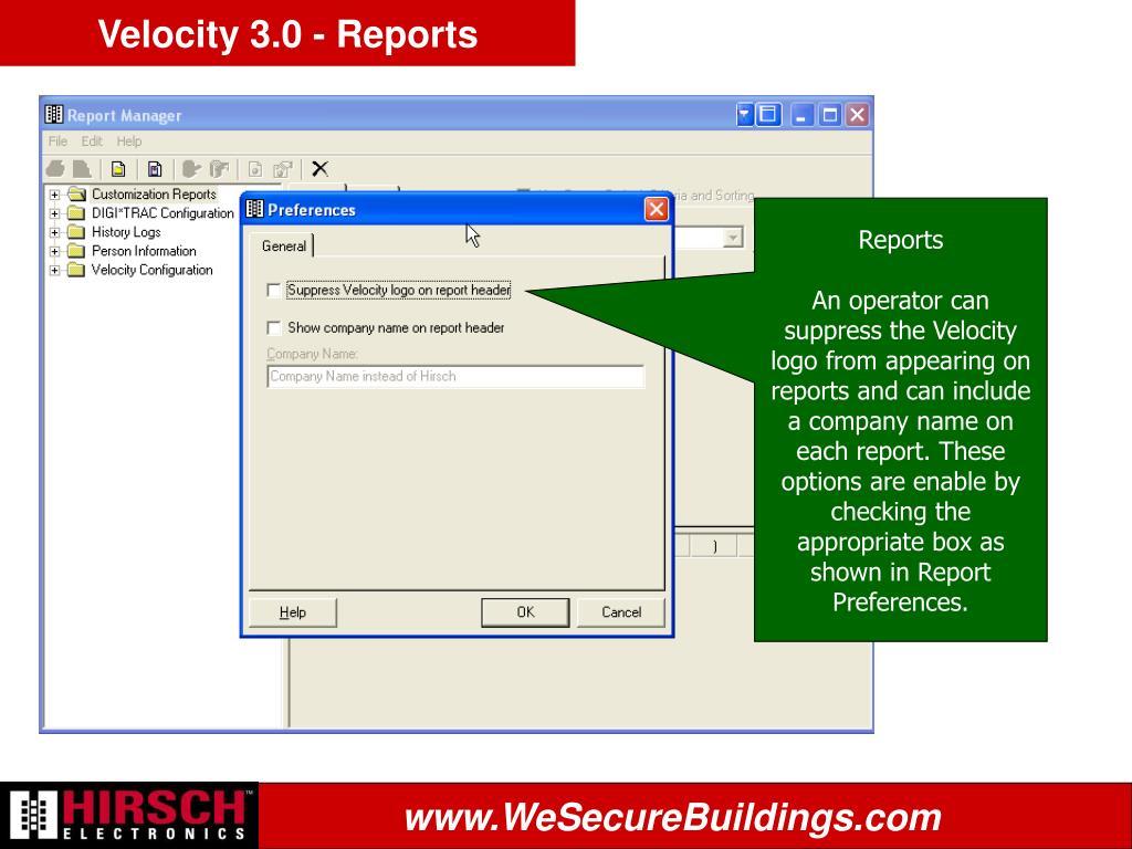 Velocity 3.0 - Reports
