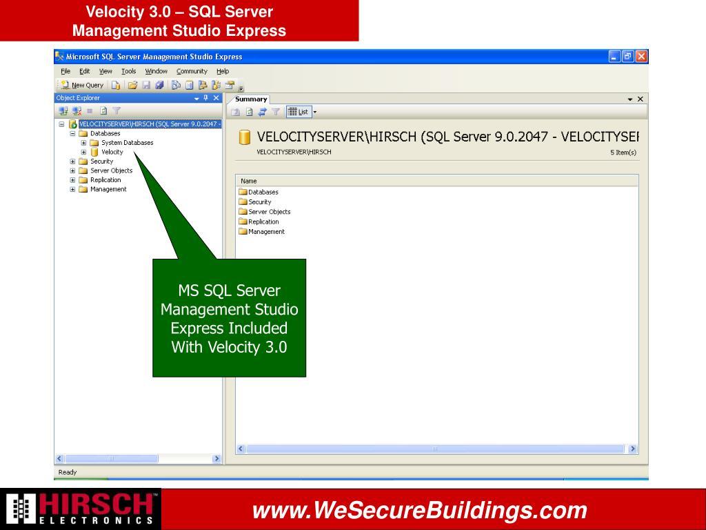 Velocity 3.0 – SQL Server