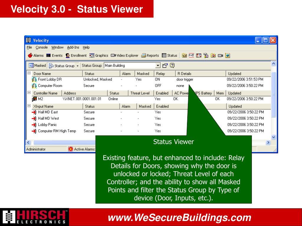 Velocity 3.0 -  Status Viewer
