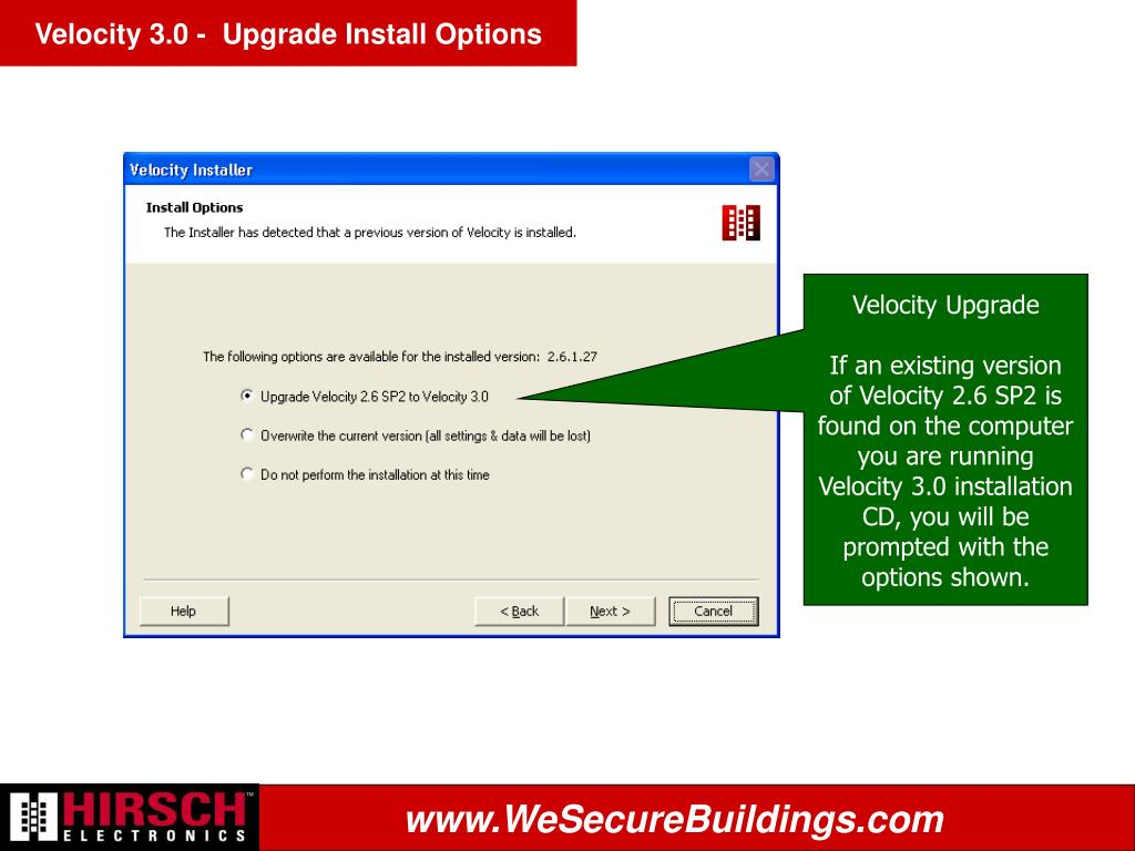 Velocity 3.0 -  Upgrade Install Options
