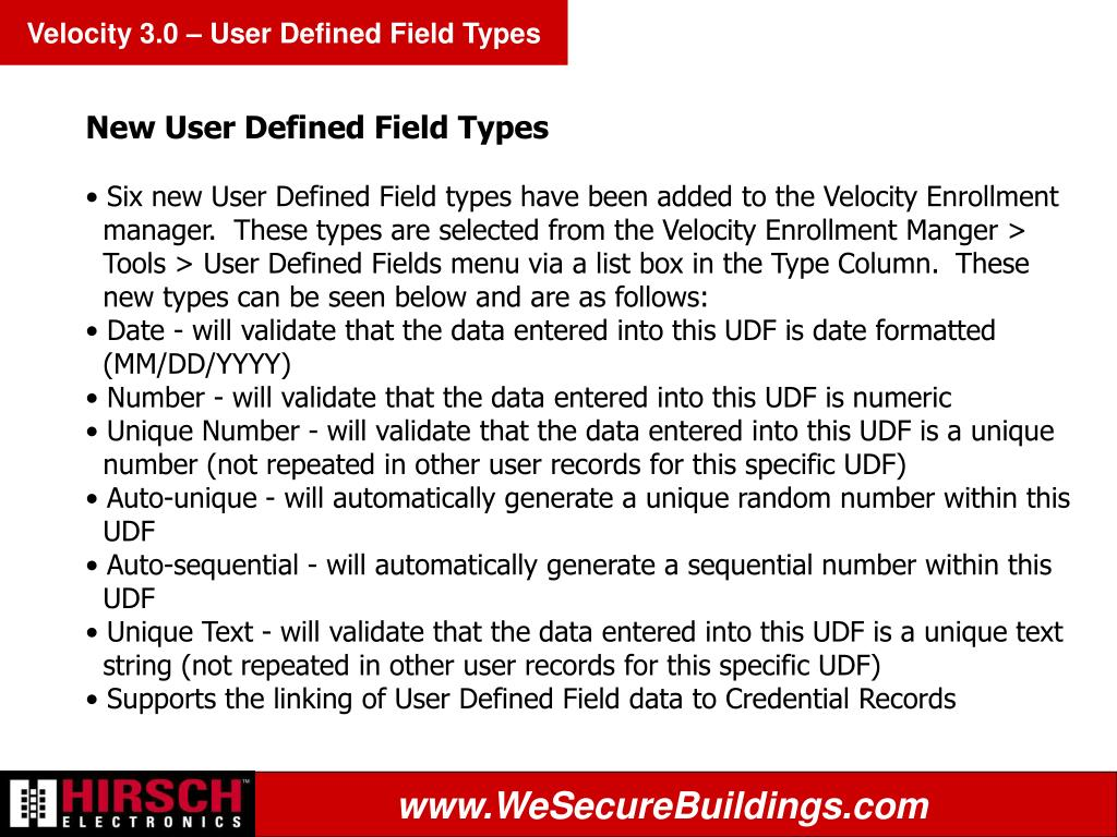 Velocity 3.0 – User Defined Field Types