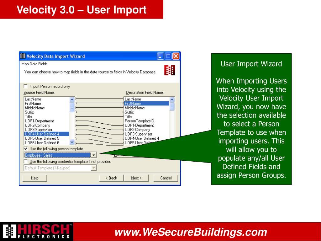 Velocity 3.0 – User Import
