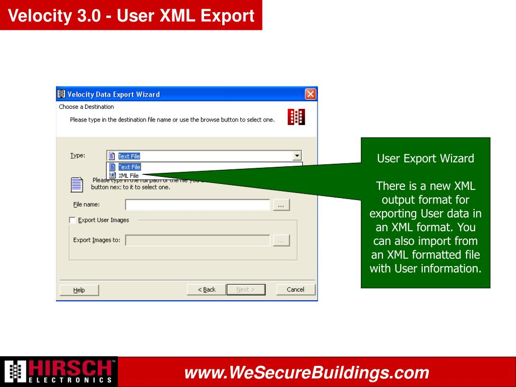 Velocity 3.0 - User XML Export