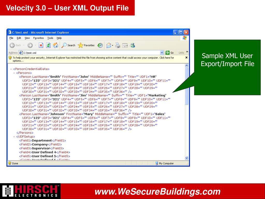 Velocity 3.0 – User XML Output File