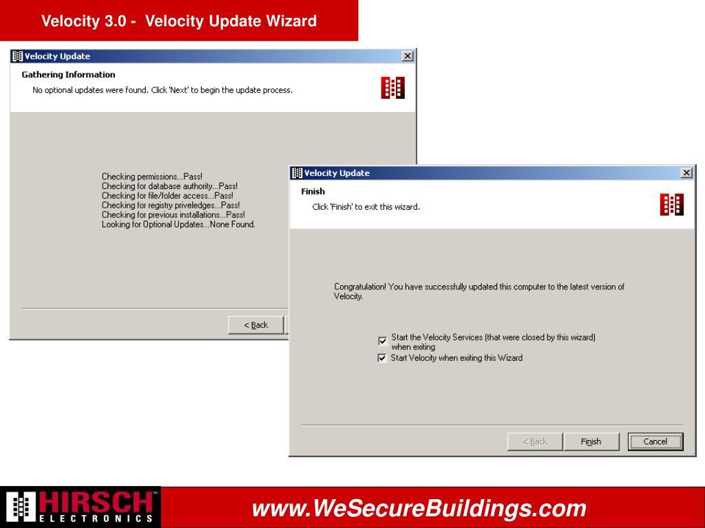 Velocity 3.0 -  Velocity Update Wizard