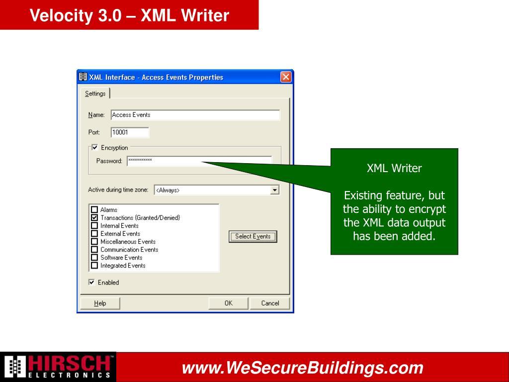 Velocity 3.0 – XML Writer