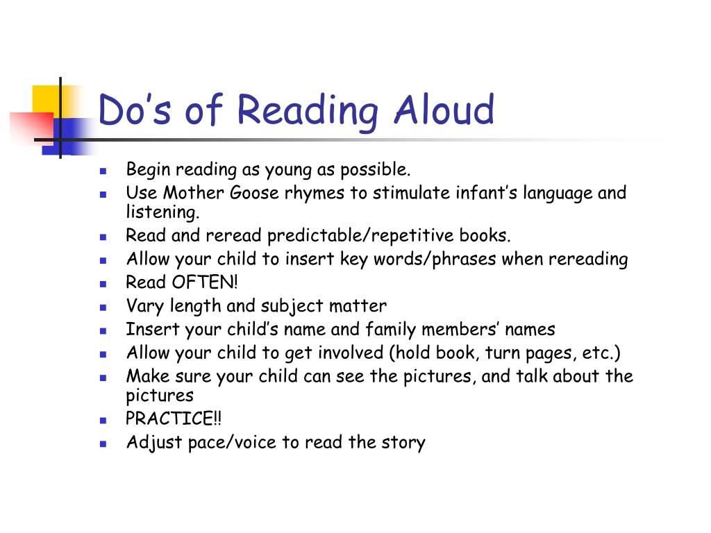 Do's of Reading Aloud