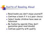 don ts of reading aloud