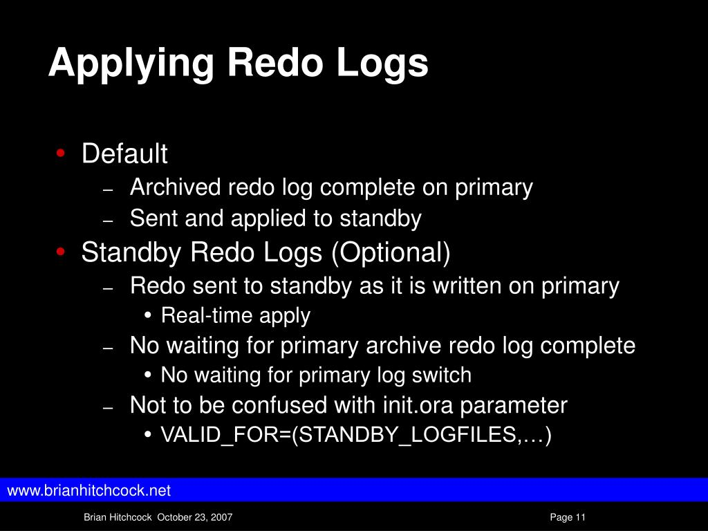 Applying Redo Logs