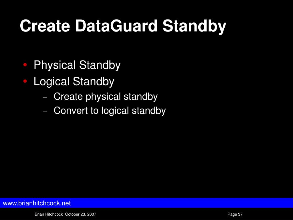 Create DataGuard Standby