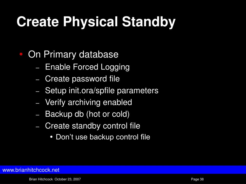 Create Physical Standby