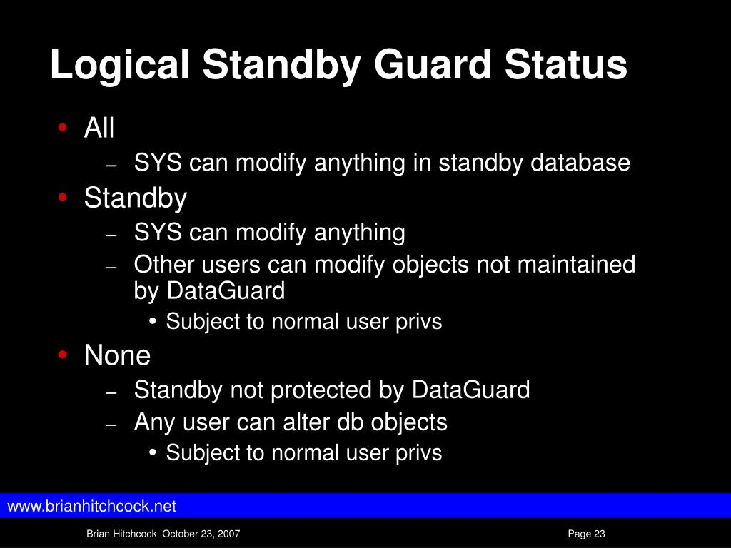 Logical Standby Guard Status