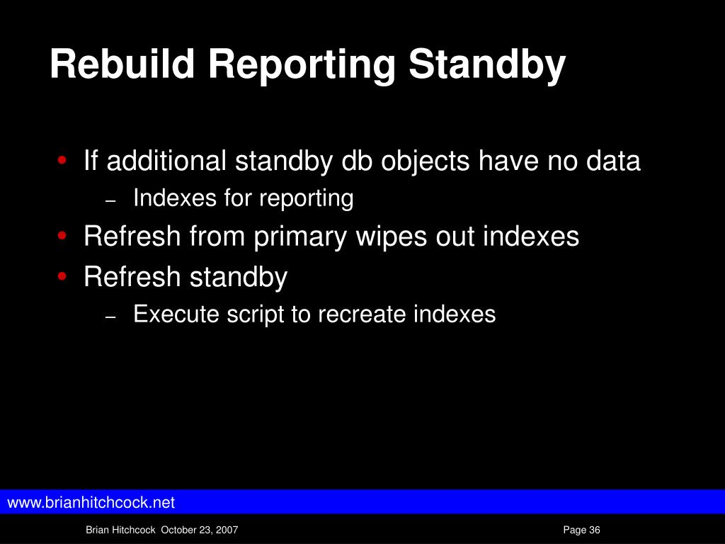 Rebuild Reporting Standby