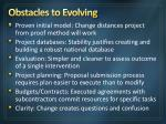 obstacles to evolving