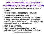 recommendations to improve accessibility of text kopriva 2000