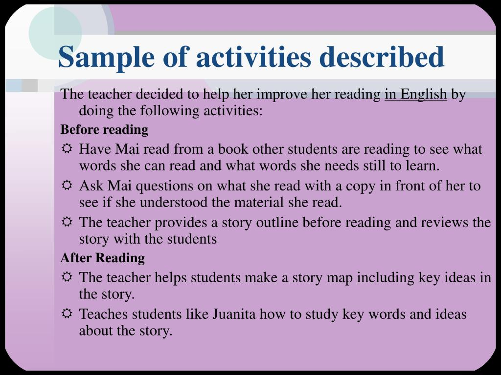 Sample of activities described