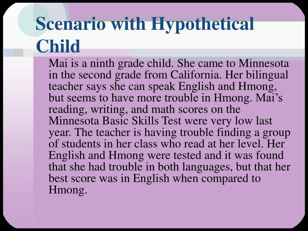 Scenario with Hypothetical Child