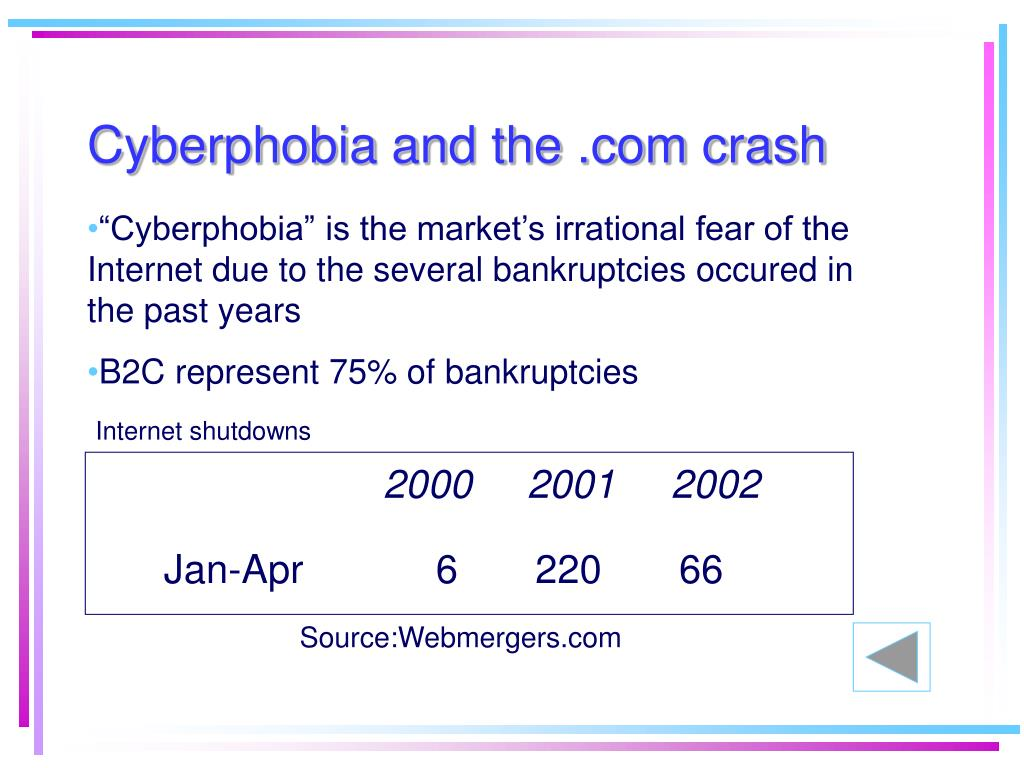 Cyberphobia and the .com crash
