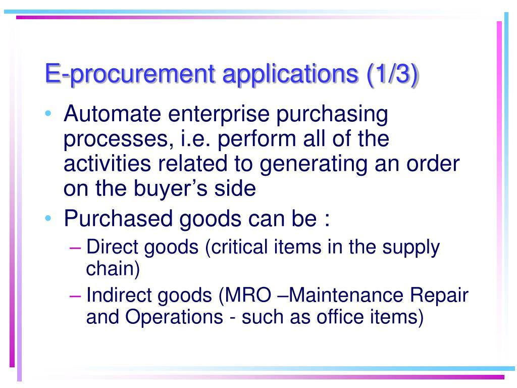 E-procurement applications (1/3)