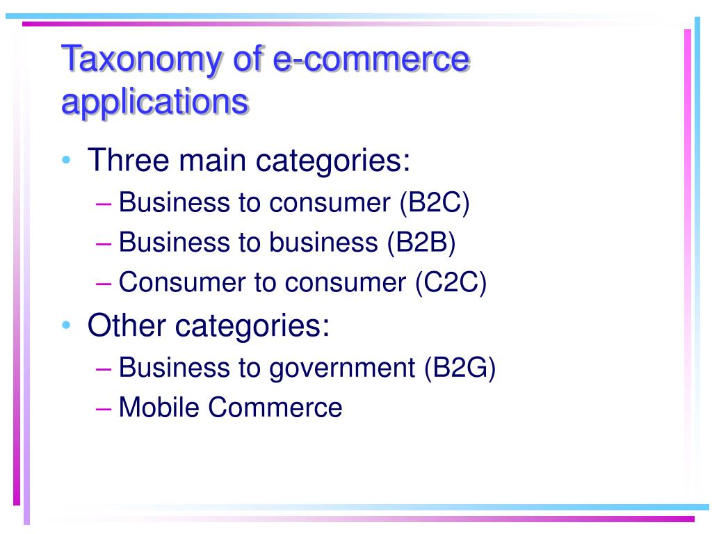 Taxonomy of e-commerce applications